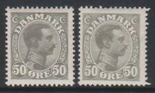 Danemark - 1921/2, 50 ore GRIS-NOIR & 50 ore Gris King Christian X TIMBRES - M/M