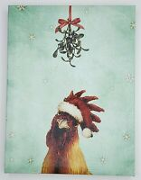 Chicken Under The Mistletoe Graphic Wall Art Canvas Christmas Holiday