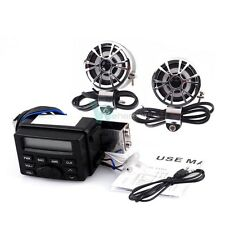 Motorcycle Audio Player FM MP3 iPod Radio Sound System Stereo W/ 2 Speakers 12V
