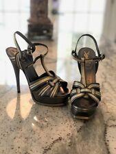 Yves Saint Laurent YSL Tribute, Leather Metallic Stilettos, Size 37.5 (7.5 US)