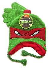 NINJA TURTLES RAPHAEL Knit Peruvian Winter Hat & Gloves Set w/ Braids NWT