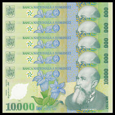 Lot 5 PCS, Romania 10000 10,000 Lei, 2000, P-112, Polymer, UNC