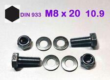 10 St. Schraube ISO 4017 M8x20 10.9 verzinkt + Mutter M8 Kl.10 + 2x U-Scheibe