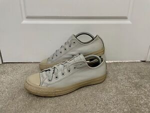 Converse Chuck Taylor All Star Ox White Beige Leather Trainers UK Size 7