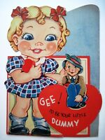 Vintage Mechanical Valentine Card w/ Girl Playing With Dummy Puppet  *