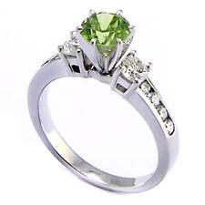 14k Gold Peridot Diamond Anniversary Ring 0.72ct # R1400