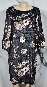 CHICO'S Black Multicolor Floral Velvet Shift Dress 2 3/4 Flared Sleeves Lined