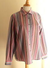 Foxcroft -Sz 14 Elegant Candy-Striped Wrinkle Free Shaped Fit Shirt Top