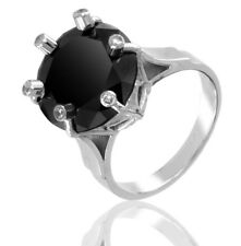 AAA 3.3 Ct Certified Round Cut Black Diamond Ring in Silver - Anniversary Gift