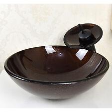 Modern Round Bathroom Vessel Sink Tempered Glass Basin Bowl Faucet Combo Set US