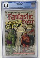 Fantastic Four 12 CGC 3.5 1st Hulk vs Fantastic Four 1963 Marvel Stan Lee RARE