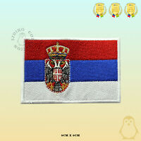 Serbia National Flag Embroidered Iron On Sew On Patch Badge For Clothes Etc