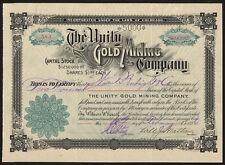 Colorado: Unity GOLD MINING Co., $1 azioni, COLORADO SPRINGS 1896