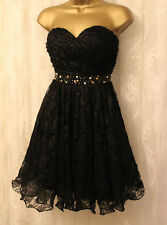 Rare Opulence Strapless Embellished Bandeau Mesh Lace Skater Prom Dress 12 40