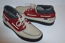 Mens SEBAGO DOCKSIDES leather high top BEIGE boots BOAT SHOES Size 9 M