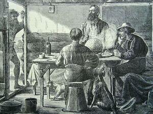Christmas CHRISTMAS IN AUSTRALIA 'PUDDING TIME' Original Victorian Print 1870