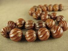 """16""""CHINESE HONGSHAN CULTURE WITH CARVED MELON PATTERN 30 JADE BEADS NECKLACE"""