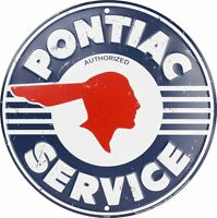 "PONTIAC SERVICE 12"" ROUND METAL TIN EMBOSSED RETRO SIGN AUTHORIZED GM GRAND PRIX"