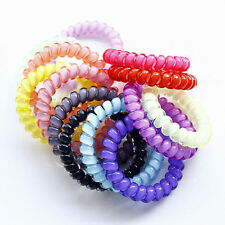10 x Asst Colour Spiral Coil Telephone Line Hair Ties Pony tail 5.5CM FREE POST