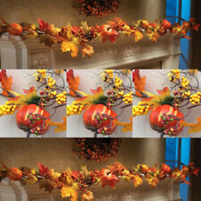1.8M LED Lighted Fall Autumn Pumpkin Maple Leaves Garland Thanksgiving Decor HOT