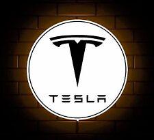 TESLA BADGE SIGN LED LIGHT BOX MAN CAVE GARAGE WORKSHOP GAMES ROOM BOYS GIFT