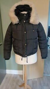Topshop Puffa Padded Jacket Fur Hood Fur Lined Black Size 8 Ladies Womens