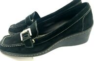 ANNE KLEIN  AKLYDIA WOMENS BLACK  SOFT SUEDE LEATHER LOAFER SHOES SIZE 8.5 M 209