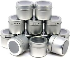12 Magnetic Spice Jars & 102 Clear Spice Labels, Spice Storage Containers | Tins