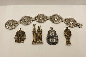Job Lot of Vintage Egyptian Revival Jewellery - Pharaoh Bracelet and Pendants