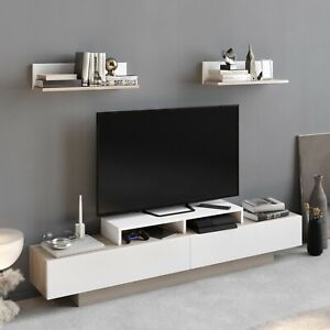 ArmedaDesign 71 inch Lusi TV Stand up to 75 in TVs with 2 Wall Shelves