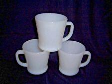 Set 3 Vntg 1950s Milk Glass Fire King Anchor Hocking 8 oz Coffee Mug Cup