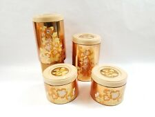 Vintage Cheinco Set of 4 Copper Colored Flower Design Metal Kitchen Canisters