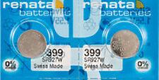 2 x Renata 399 Watch Batteries, 0% MERCURY equivalent SR927W, Swiss Made