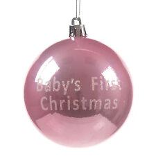 premier de bébé 1st Décoration de boule de Noël à paillettes LETTRAGE - Rose