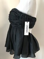 l'agence Sz 4 Women's pleated strapless top blouse black ruffles lined open back