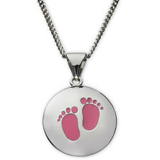Sterling Silver Girl's Foot Print Charm Pendant Necklace Ladies Girls Mum Mother