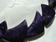 Dyed Purple howlite fan beads Sabertooth style (1 full sets) Funky shape