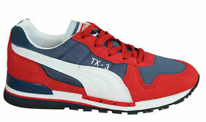 Puma TX-3 Mens Trainers Lace Up Shoes Red Blue Leather Textile 341044 44 D25