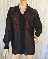 LISA HO SIZE 12 BUTTON DOWN SHEER SHIRT