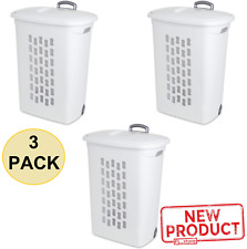 3 PACK Wheeled Plastic Laundry Hamper Rolling Basket Clothes Storage Lid White