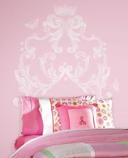 SCROLL HEADBOARD WALL MURAL DECALS Princess Crown Stickers White Room Decor
