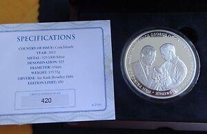 2013 SILVER PROOF 5OZ COOK ISLANDS $25 COIN BOX + COA LINE OF SUCCESSION 1/450