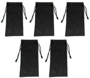 5 x Black Glasses Sunglasses Pouch Case Drawstring Soft Bag Wallet Phone Reading