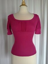 SIZE S - JUNIOR $26.50 WET SEAL Short Sleeve Fuchsia Pink Rib Knit Sweater Top