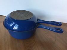 Le Creuset 2-in-1 Blue #18 Cast Iron Saucepan w/ Skillet Lid