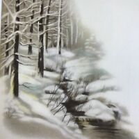 Vintage Early Mid Century Christmas Greeting Card Winter Silence Quiet Snowy