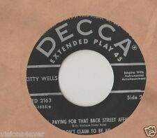 KITTY WELLS* 45 EXTENDED PLAY* IT WASN'T GOD WHO MADE HONKY TONK ANGELS *3 MORE