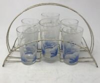 Set of 6 MCM Glass Tumblers With Metal Wire Beverage Caddy Carrier Boats Trees