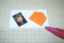 Miniature Pumpkin Halloween Card/Glitter/Envelope DOLLHOUSE 1:12 Scale