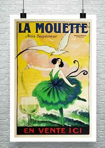 La Mouette 1920 Vintage French Liquor Poster Canvas Giclee Print 24x34 in.